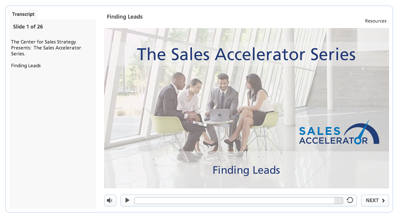 Sales Accelerator Series Finding Leads Screen