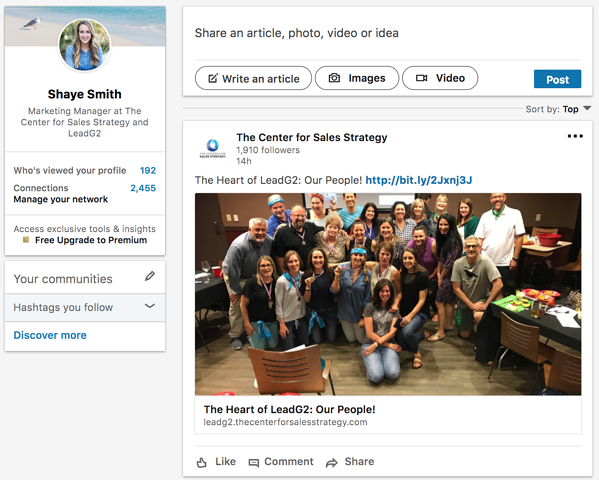 Shaye Smith LinkedIn Home Page