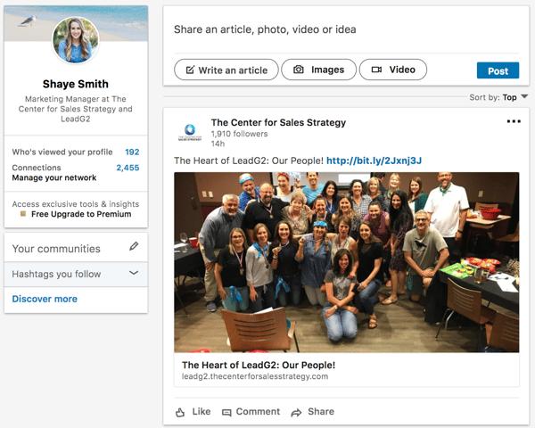 Shaye Smith LinkedIn Home Page