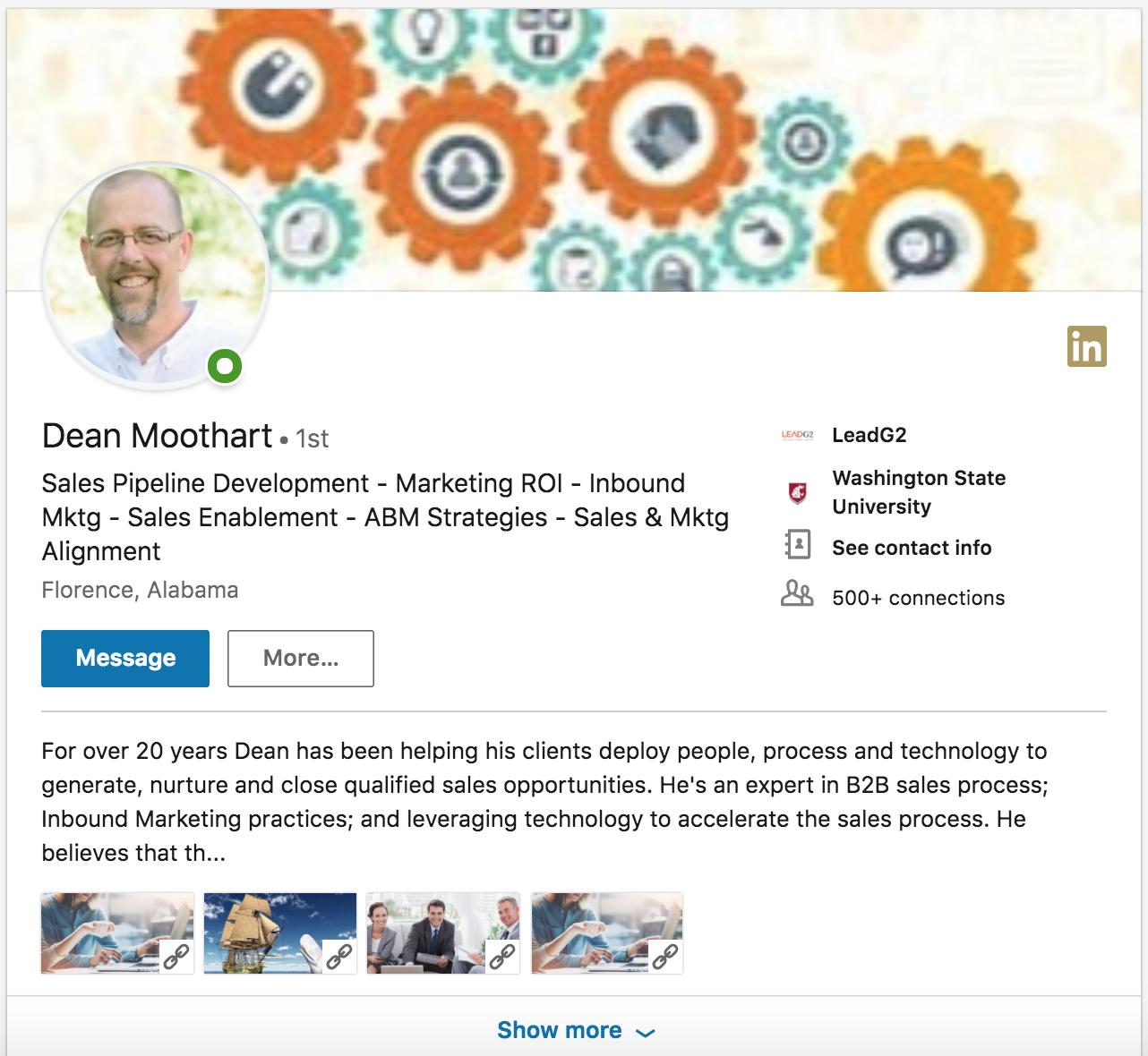 Dean Moothart LinkedIn Profile